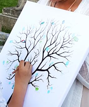 fingerabdruck baum hochzeitsbaum auf leinwand g stebuch drucke dein. Black Bedroom Furniture Sets. Home Design Ideas